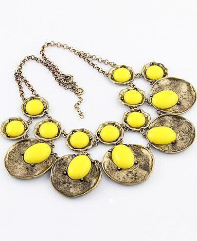 Yellow Gemstone Retro Gold Round Necklace