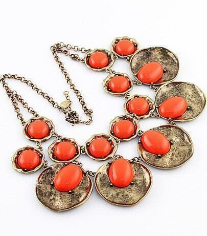 Orange Gemstone Retro Gold Round Necklace