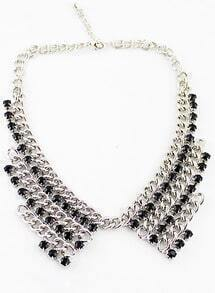 Black Beaded Chain False Collar Necklace