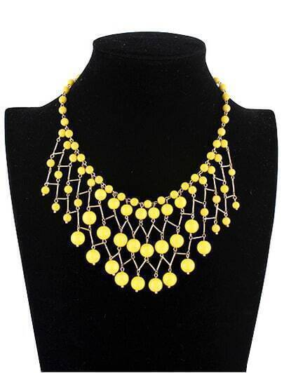 New Vogue Jewelry Yellow Bead Necklace