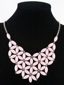 Pink Flowers Collar Chain Necklace