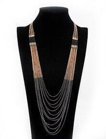 Black Gold multi-layers Chain Necklace
