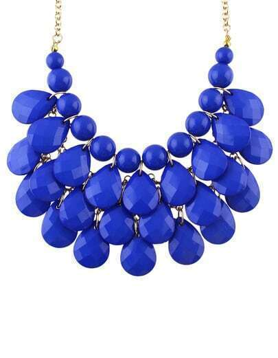 Charming Style Shine Blue Beads Necklace pictures