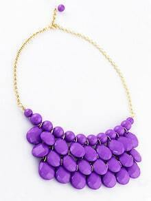 Charming Style Shine Purple Beads Necklace