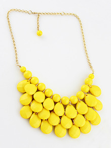 Charming Style Shine Yellow Beads Necklace