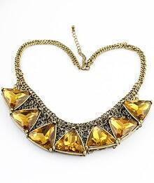 Big Imitation Glass Rhinestone Collar Necklace