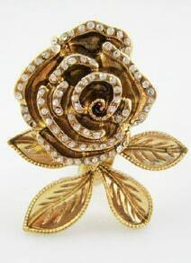 Vintage Elegant Rhinestone Gold Flower Ring