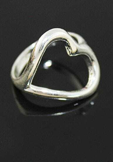 Silver Hot Selling Concise Heart Ring