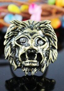 Gold Enamel Lion Head Ring