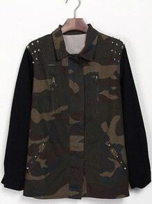 Green Camouflage Long Sleeve Rivet Zipper Coat