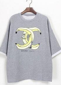Light Grey Mr Banana Double C Print T-Shirt