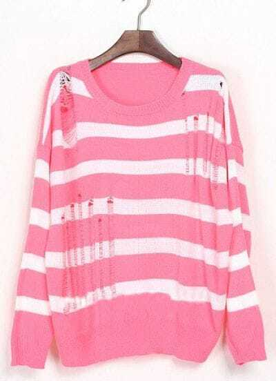 Pink White Striped Ripped Dropped Shoulder Sweater -SheIn(Sheinside)