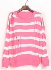 Pink White Striped Ripped Dropped Shoulder Sweater