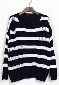 Black White Striped Ripped Dropped Shoulder Sweater