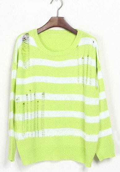 Light Green White Striped Ripped Dropped Shoulder Sweater