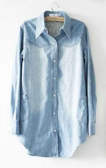 Light Blue Lapel Long Sleeve Pearls Pockets Denim Shirt