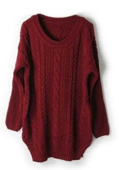 Dark Red Long Sleeve Cable Chunky Split Sweater