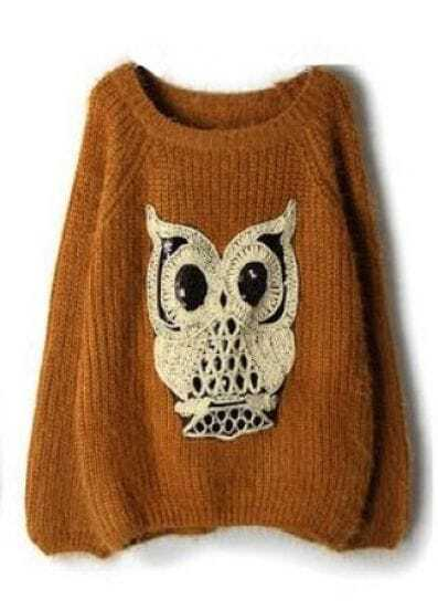 Dark Yellow Sequined Owl Pattern Mohair Sweater -SheIn(Sheinside)