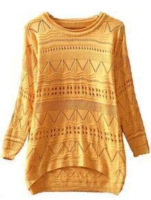 Yellow Long Sleeve Geometric Eyelet Embellished Knit Jumper Sweater