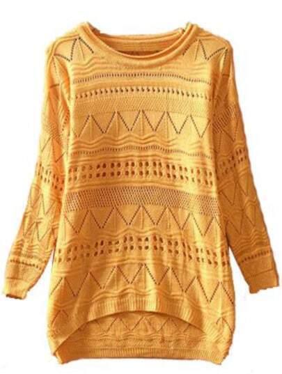 Yellow Long Sleeve Geometric Eyelet Embellished Knit Jumper Sweater