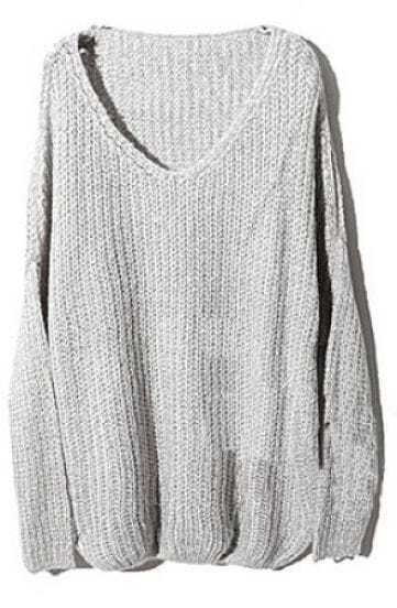Grey V Neck Long Sleeve Pullovers Sweater