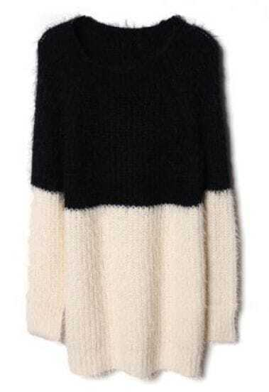 Black White Long Sleeve Chunky Duo-Toned Knit Sweater