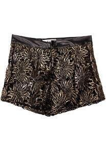 Black Metallic Yoke Embroidery Leather Short