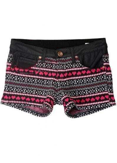 Black Pockets Red Hearts Pattern Knit Short