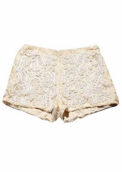 Apricot Handmade Beading Embroidery Zipper Short