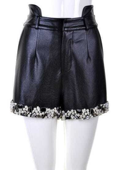 Black Pearls Rhinestone Leather Short