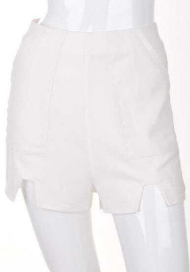 White Vintage High Waist Split Short