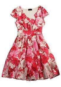 Red Short Sleeve Side Zipper Floral Dress