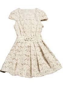 Apricot Short Sleeve Embroidery Pleated Dress