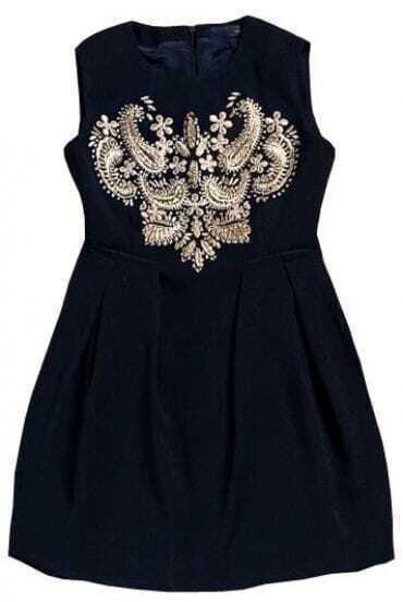 Navy Sleeveless Embroidery Back Zipper Dress