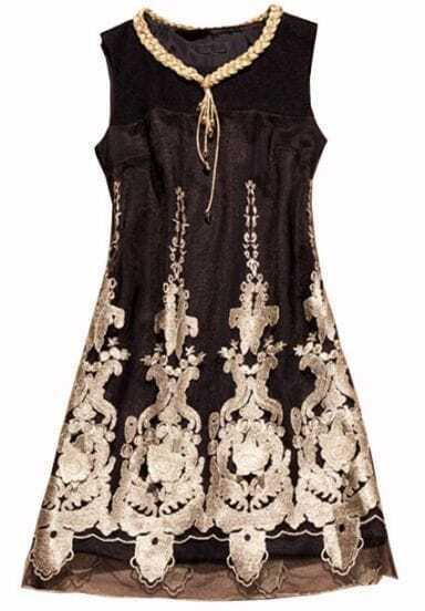 Black Sleeveless Embroidery Metallic Yoke Dress
