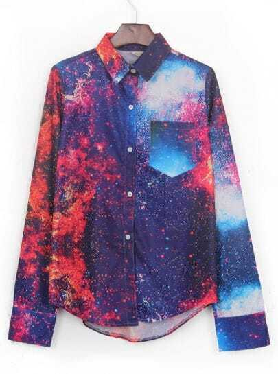 Red Wing Collar Galaxy Print Curved Hem Pocket Blouse