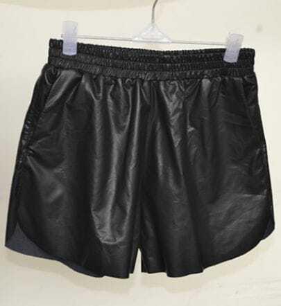 Black Elastic Waist Pockets PU Leather Short