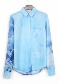 Light Blue Wing Collar Galaxy Print Curved Hem Pocket Blouse
