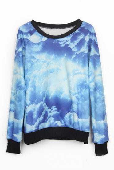 Blue and White Galaxy Print Pullover Sweatshirt