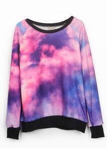 Pink Dip Dye Galaxy Print Pullover Sweatshirt