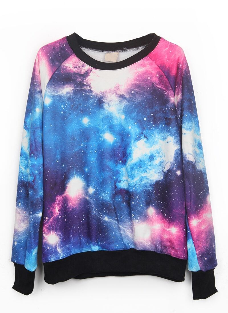 Pink and Blue Galaxy Print Pullover Sweatshirt -SheIn(Sheinside)
