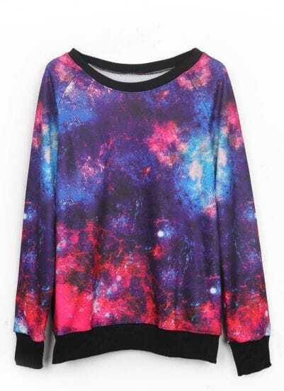 Purple and Red Galaxy Print Pullover Sweatshirt