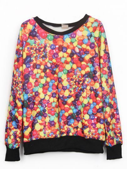 Colorful Sweets Pattern Round Neck Pullover Sweatshirt