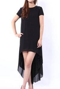 Black Short Sleeve High Low Dress