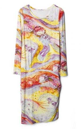 Yellow Long Sleeve Oil Painting Print Dress
