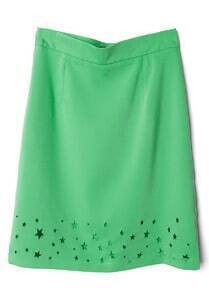 Green Stars Hollow Skirt
