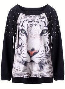 Black Tiger Face Print Rivets Sweatshirt