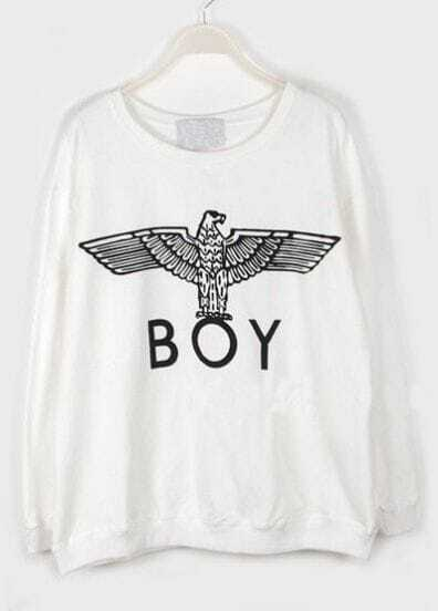 White Long Sleeve Eagle BOY Print Sweatshirt