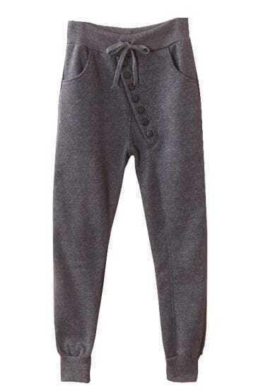 Dark Grey Drawstring Buttons Sport Pant