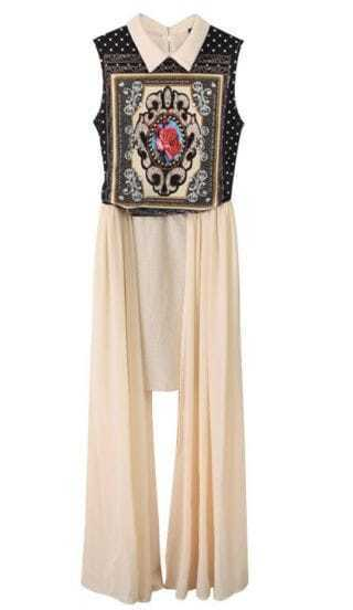 Apricot Totem Print Asymmetrical Chiffon Dress